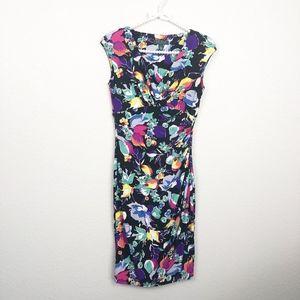 Ralph Lauren Dress Midi Black Floral sz 2